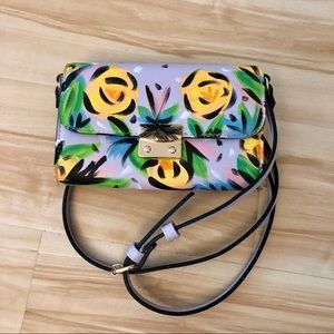 A•NEW•DAY lavender crossbody bag floral painted